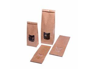 Blokbodemzakjes bruin kraft papier met venster