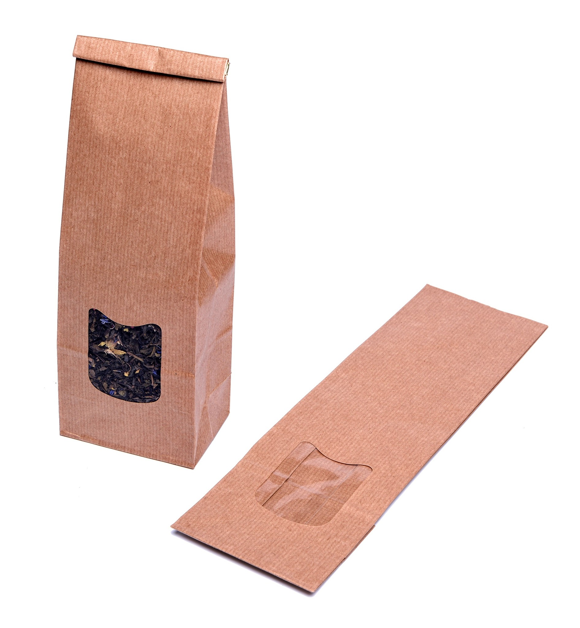 Blokbodemzakjes met venster 105 + 65 x 300 mm uit 80 grams bruin kraft pakje van 100 stuks