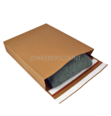E-Green Verzendzakken 350 + 80 x 450 mm met blokbodem en retourstrip uit 126 grams bruin kraft - pakje van 200 stuks