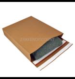Verzendzakken 350 + 80 x 450 mm met blokbodem en retourstrip uit 126 grams bruin kraft - pakje van 250 stuks