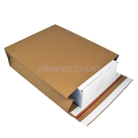 Verzendzakken 350 + 120 x 450 mm met blokbodem en retourstrip uit 126 grams bruin kraft - pakje van 200 stuks