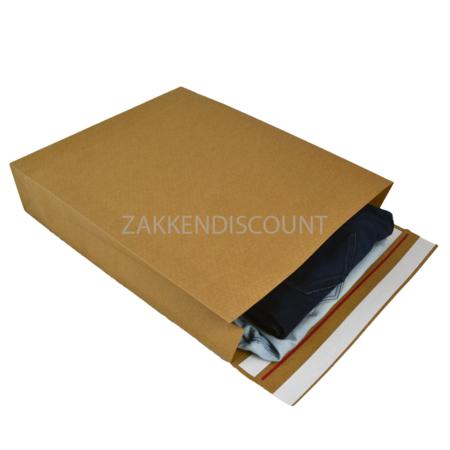 E-Green Verzendzakken 400 + 100 x 500 mm met blokbodem en retourstrip uit 126 grams bruin kraft - pakje van 100 stuks