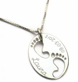 KAYA jewellery Engraved 'Baby Feet' on Birth Necklace