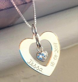 "KAYA jewellery Silver Necklace 'Forever by my Side ""with Crystal"