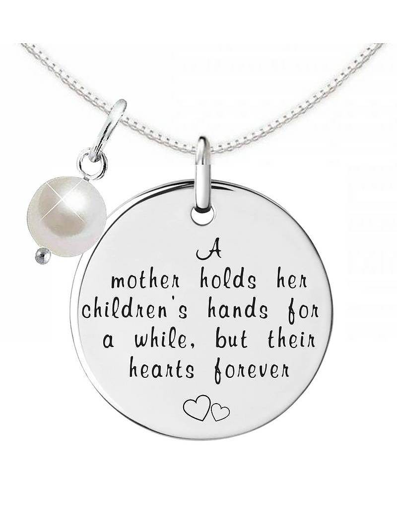 "KAYA jewellery Silver Necklace + Pearl ""A Mother holds her children's hands"""
