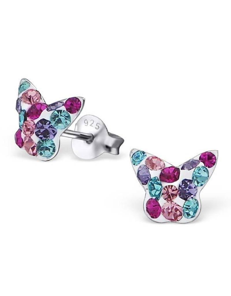 KAYA jewellery Silver Earrings 'Crystal Colour Butterfly'