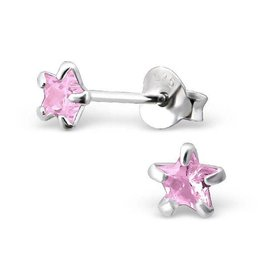KAYA jewellery Children's Silver Ear Studs 'Pink Star 4 millimeter'