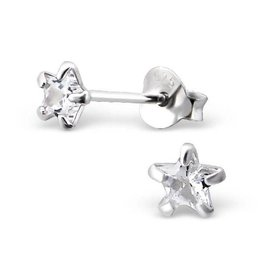 KAYA jewellery Children's Silver Ear Studs 'Silver Star 4 mm.'