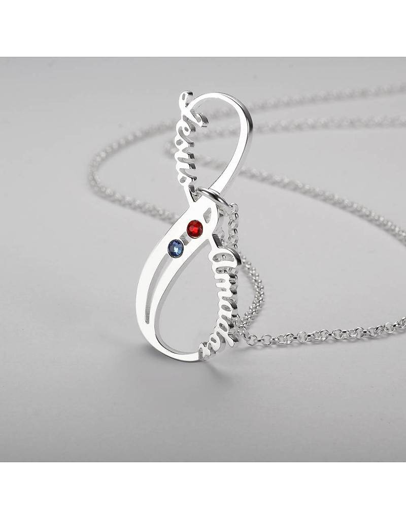 KAYA jewellery Infinity Necklace 'birthstones' silver
