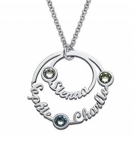 KAYA jewellery Birthstone Necklace Silver 'three circles'