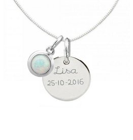 "KAYA jewellery Silver Necklace ""Moondance Opal 'Disc16 mm"