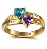 KAYA jewellery Ring with birthstones 'two hearts'