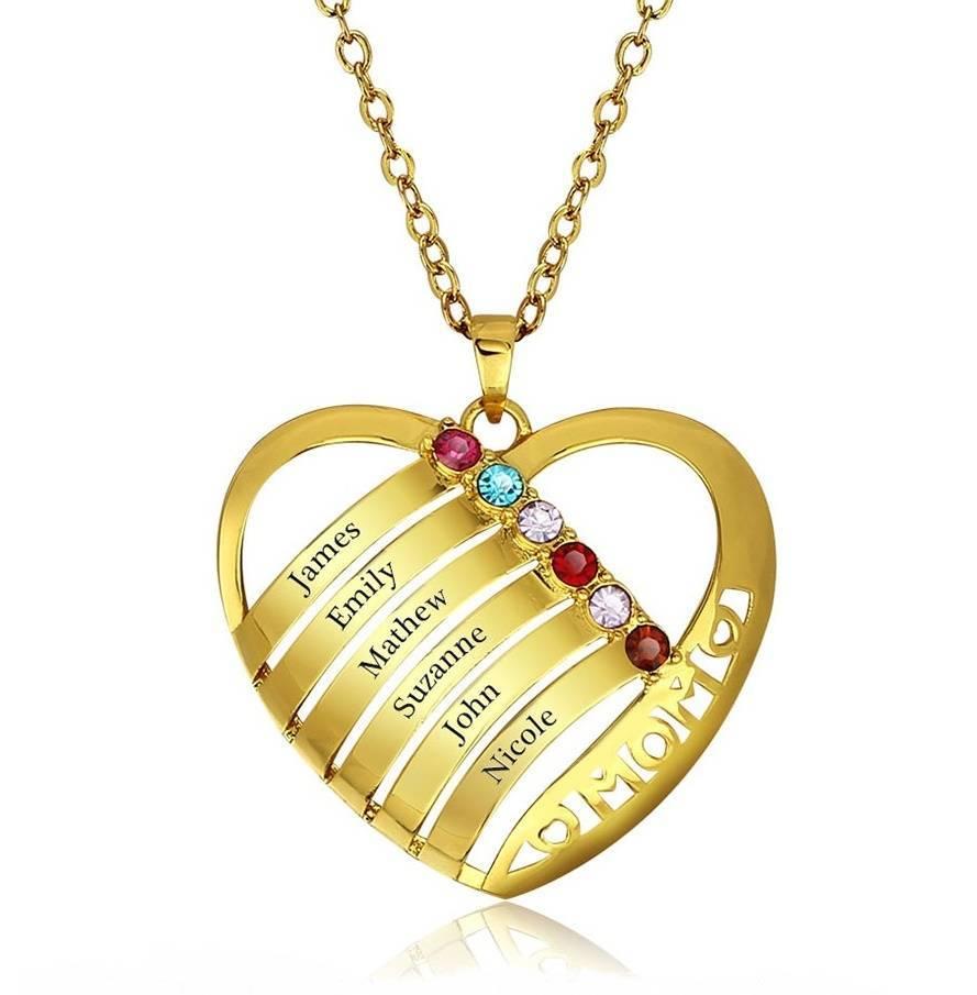 KAYA jewellery Birthstone necklace 'family heart'