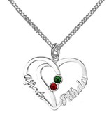 KAYA jewellery Heart shaped birthstone necklace '2 names'