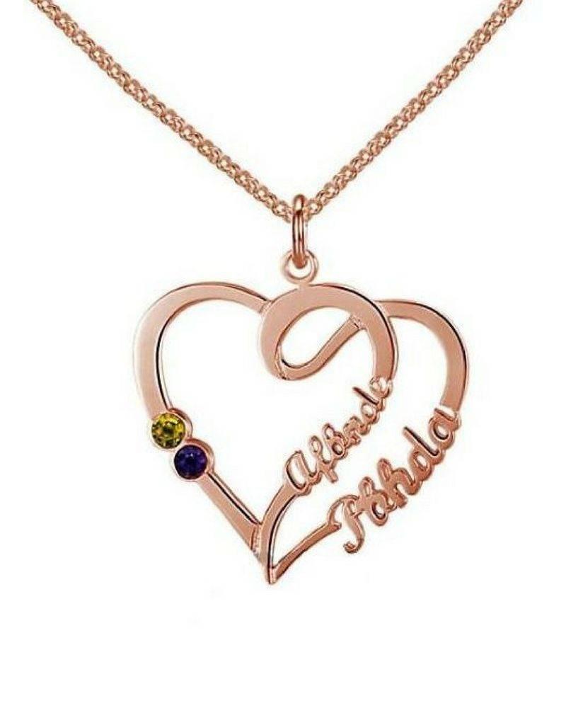 KAYA jewellery Heart shaped birthstone necklace '2 kids'