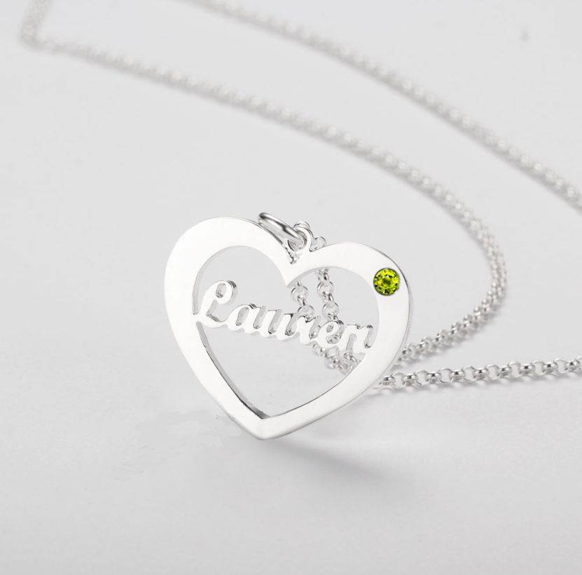 KAYA jewellery Heart shaped birthstone necklace