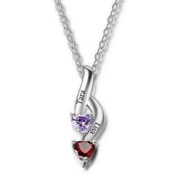 KAYA jewellery Sterling silver birthstone necklace 'hearts'