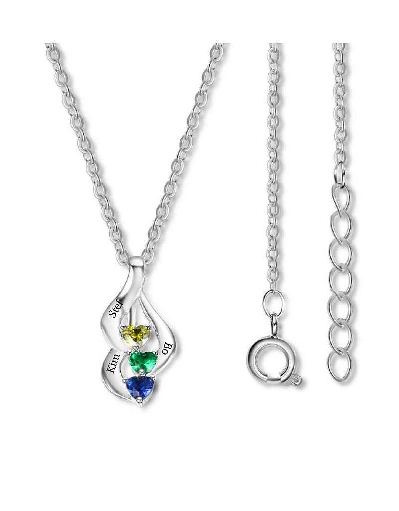 KAYA jewellery Sterling silver birthstone necklace '3 hearts'