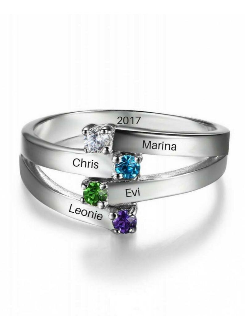 KAYA jewellery Classy birthstone ring '4 kids'