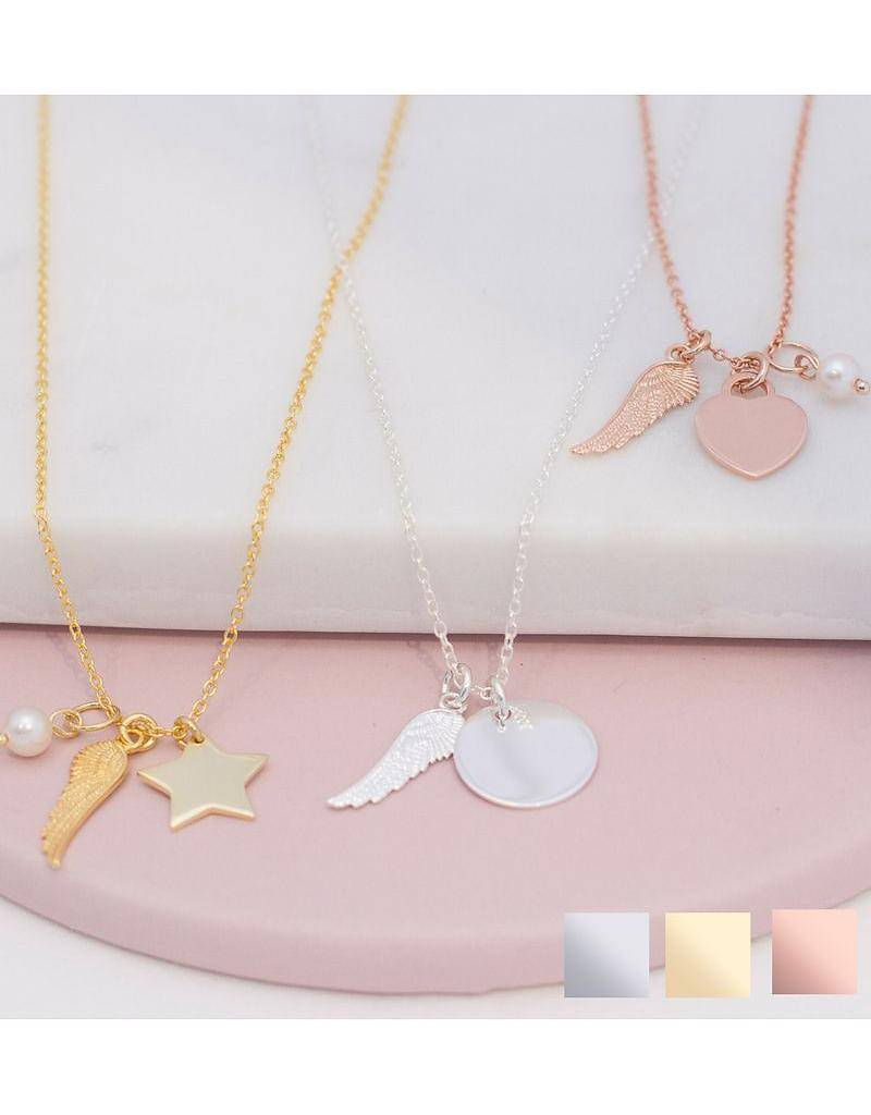 KAYA jewellery Silver necklace with engraving 'angel wings'