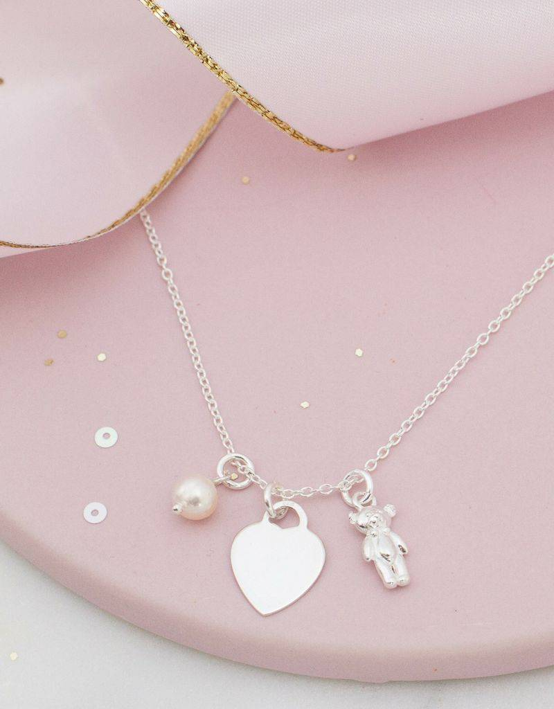 KAYA jewellery Silver childeren's necklace 'engrave disc & teddy bear'