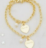 KAYA jewellery Three generation bracelets 'pearl & personalised charm'
