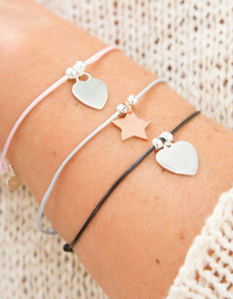 KAYA jewellery Adjustable leather bracelet with personalized charm
