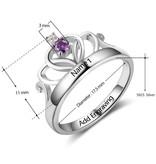 KAYA jewellery Birthstone ring with engraving 'crown'