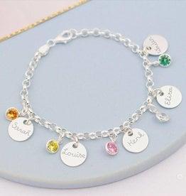 KAYA jewellery Personalised bracelet 'discs & birthstones'