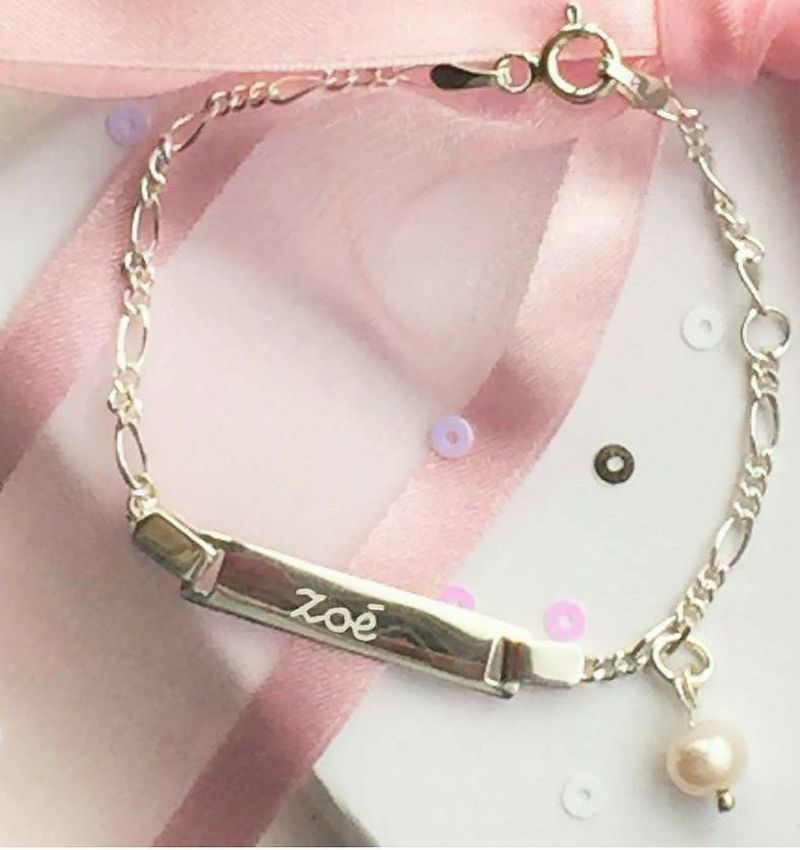KAYA jewellery Silver bracelet 'cute' with engraving and freshwater pearl