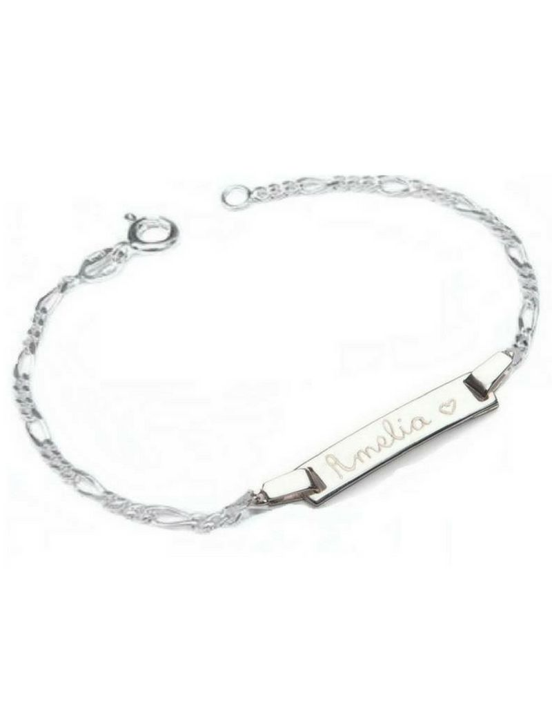 KAYA jewellery Silver bracelet 'Cute' with Engraving and Heart Charm