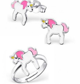KAYA jewellery Cute gift set 'unicorn' earrings + ring