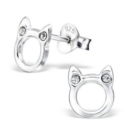 KAYA jewellery Silver earrings 'cute cat' with Zirconia stones