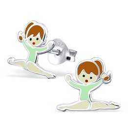 KAYA jewellery Childerens silver ear studs 'gymnastic girl'