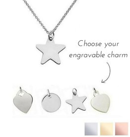 KAYA jewellery Sterling silver necklace with engravable charm