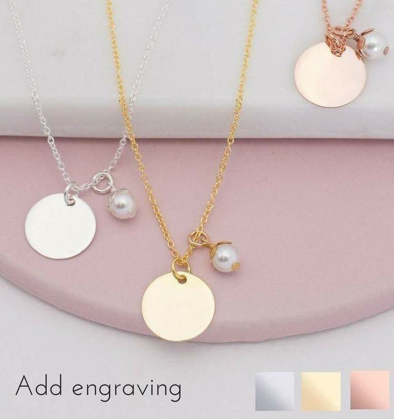 KAYA jewellery Sterling silver necklace with engrave disc and pearl
