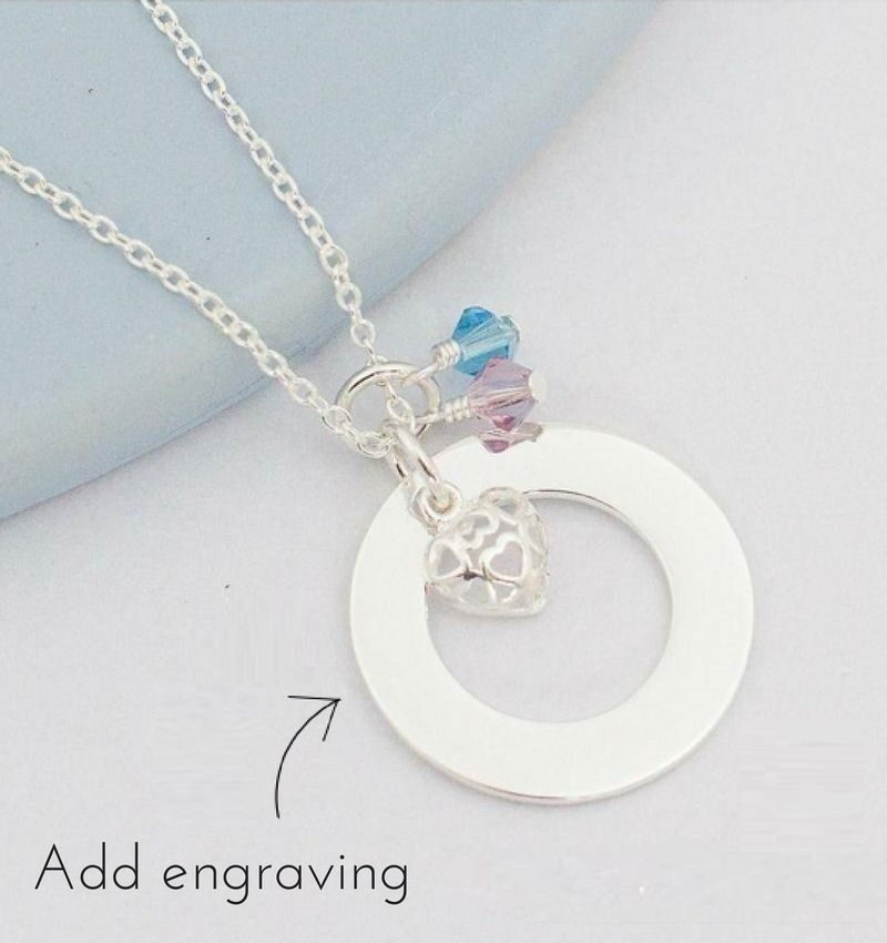 KAYA jewellery Silver necklace with birthstones 'circle'