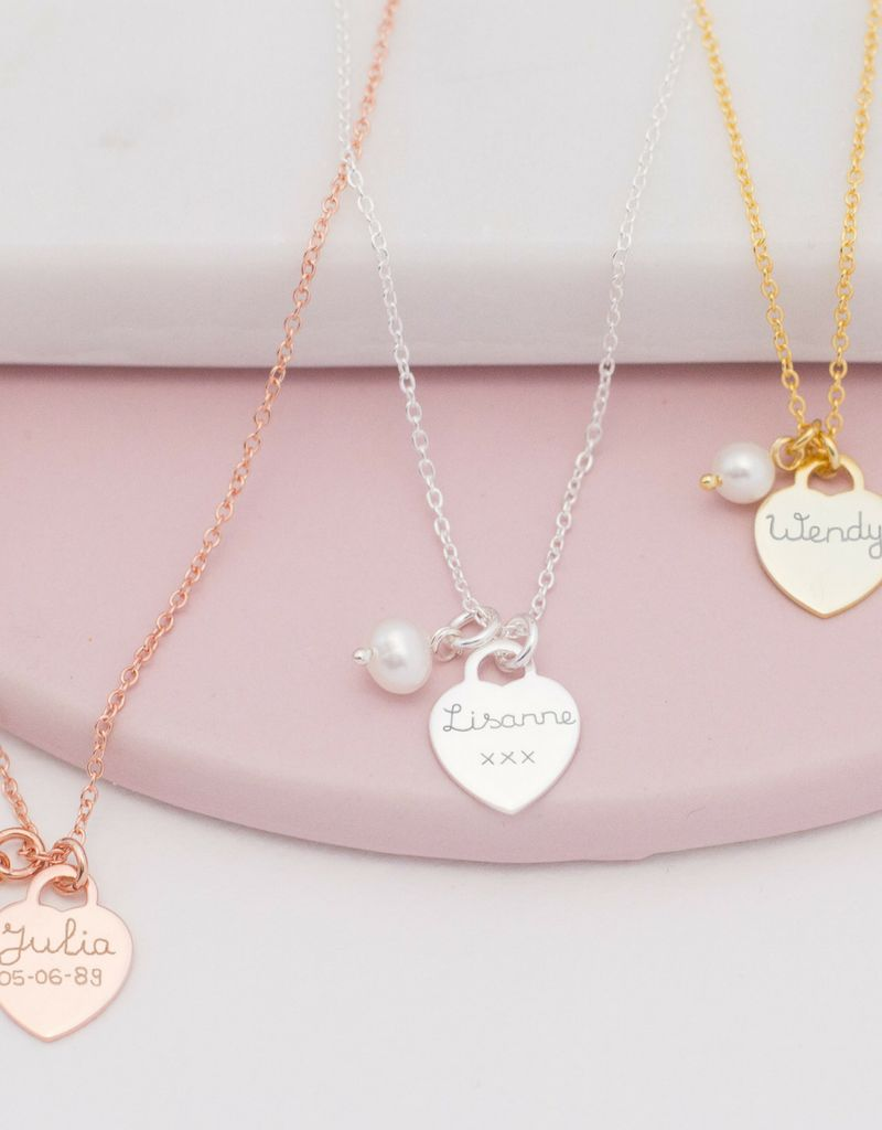 KAYA jewellery Silver Necklace 'Handwriting' heart 11 x 12 mm
