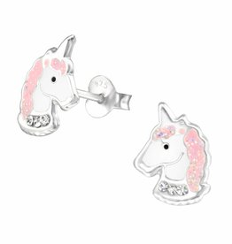 KAYA jewellery Silver earrings 'Unicorn with crystals'