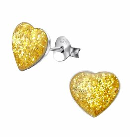 KAYA jewellery 'Cute Yellow Sparkle Heart' Stud Earrings