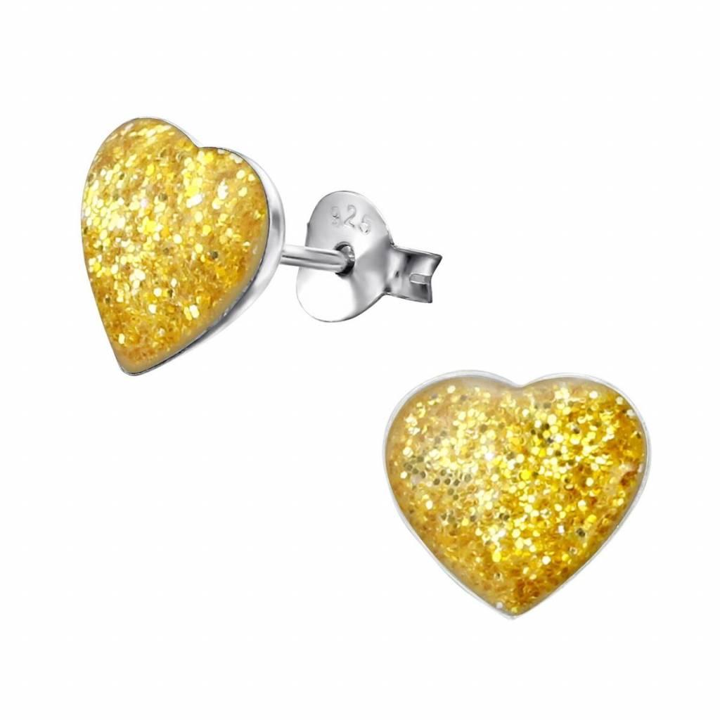 KAYA jewellery 'Cute Yellow Sparkle Heart' Stud Earrings
