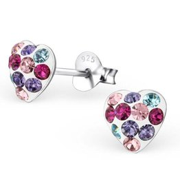 KAYA jewellery 'Cute Silver Colorful Heart' Stud Earrings