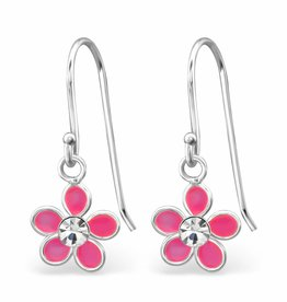 KAYA jewellery 'Pink Flower With Crystal' Earrings
