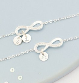 KAYA jewellery Silver Mom & Me Set 'love you infinitely' with initials