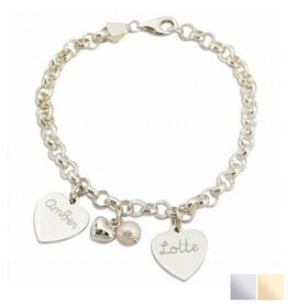 KAYA jewellery Silver Bracelet 'Jasseron' with 2 Engravable Charms