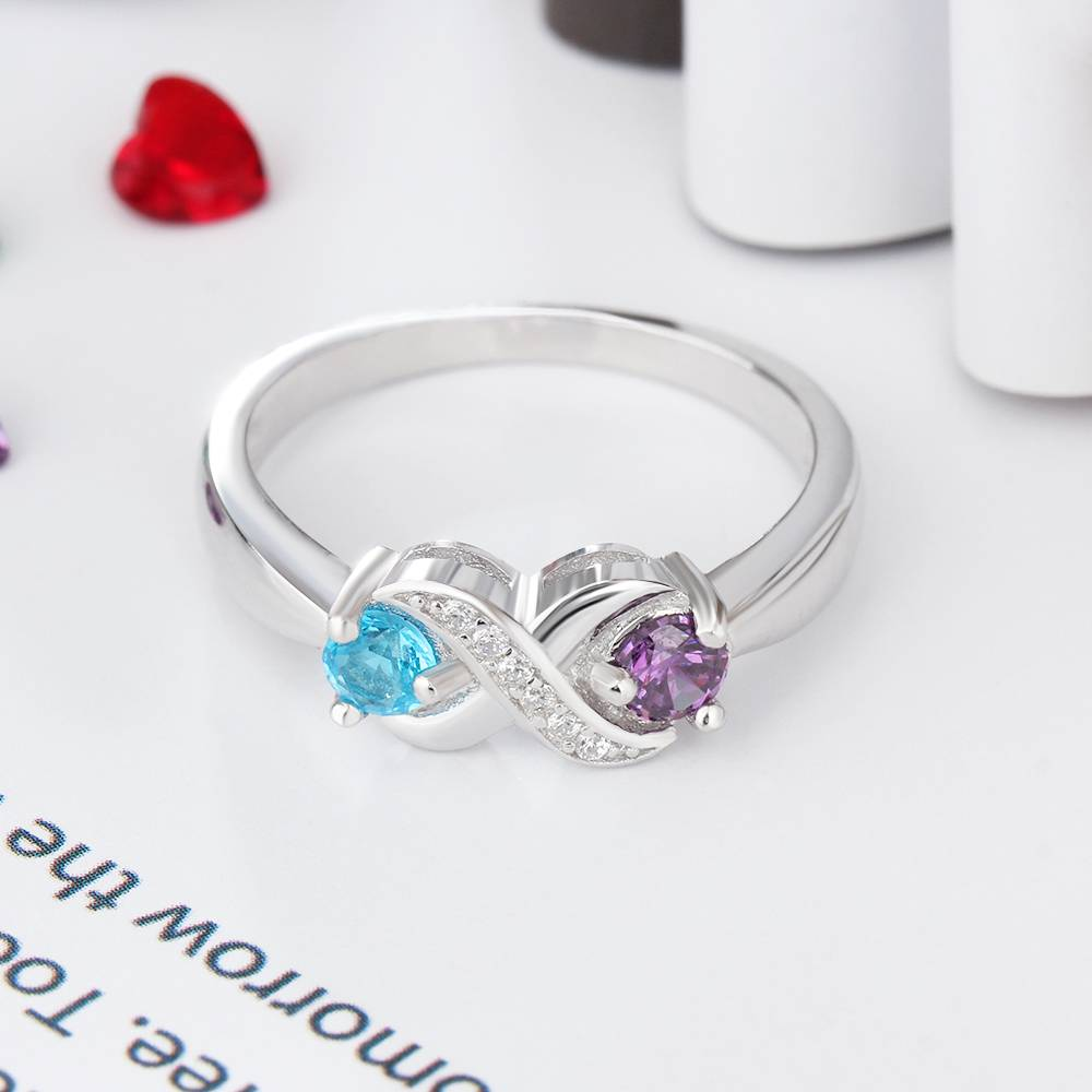 KAYA jewellery Ring with 2 birthstones 'Infinity Sparkle'