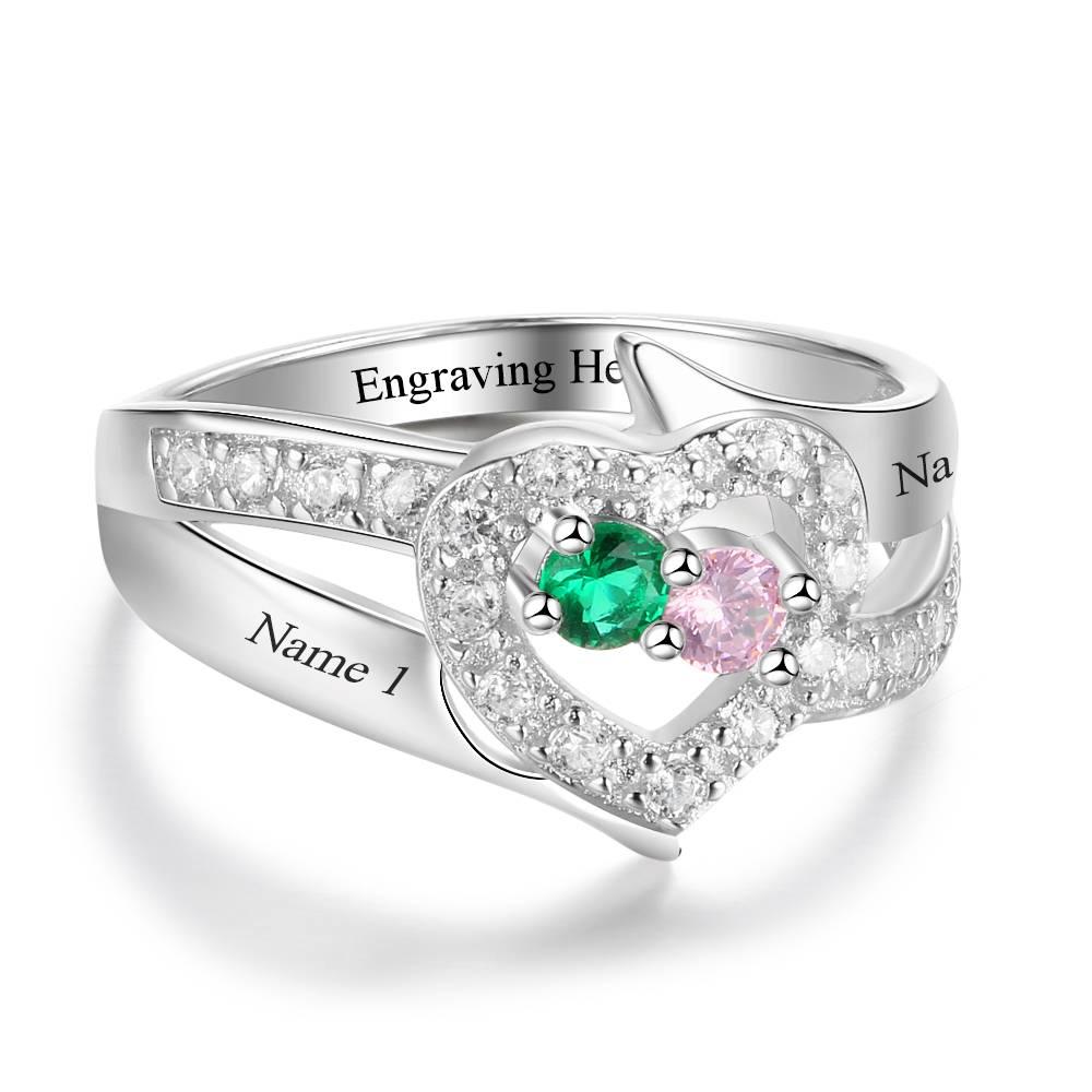 KAYA jewellery Ring with 2 birthstones 'Wonderful Love'