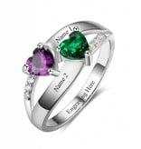 KAYA jewellery Ring with 2 birthstones 'Enchanted'