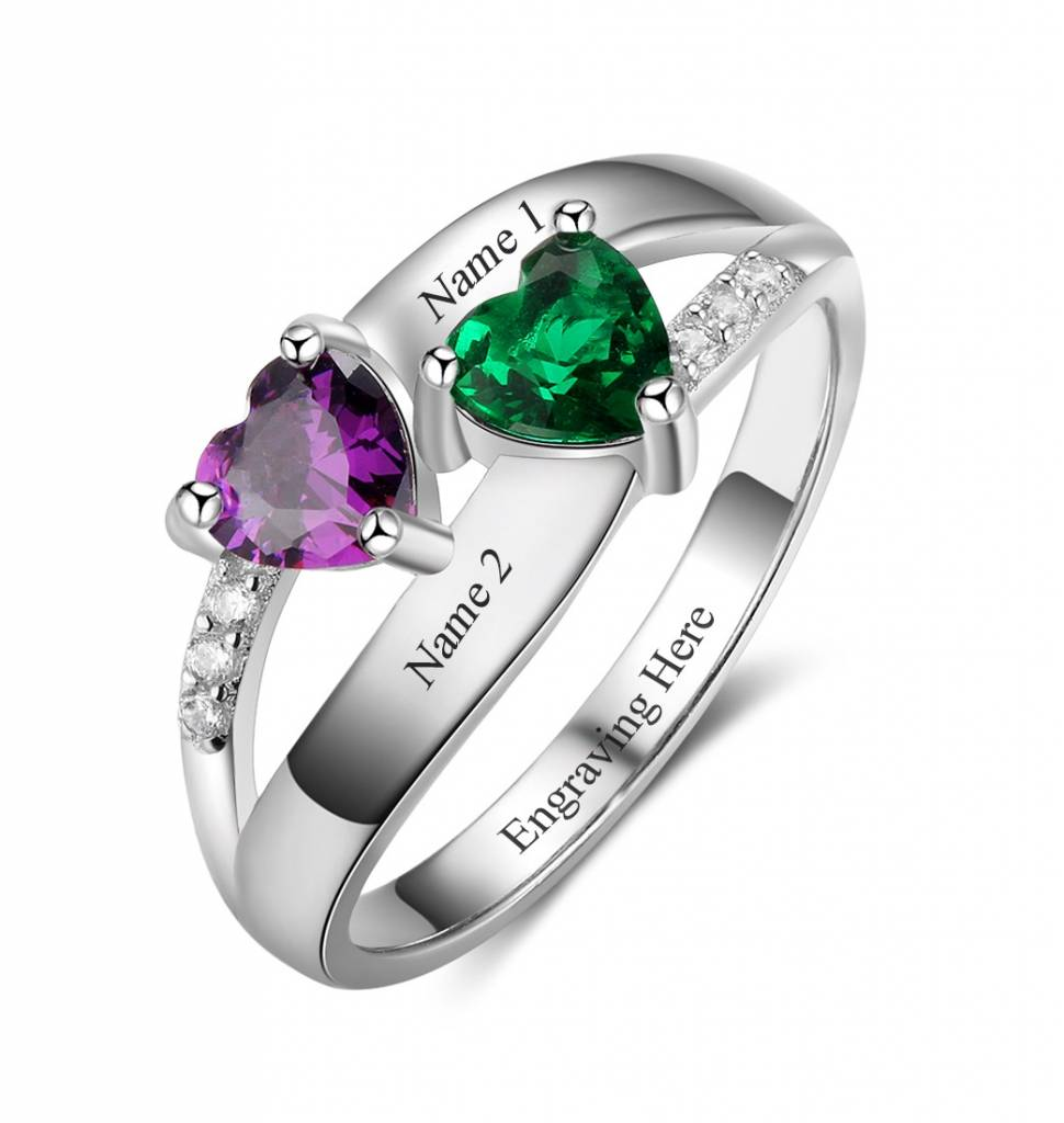 Silver Ring with two Birthstones