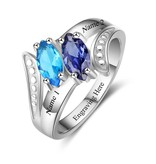 KAYA jewellery Ring with 2 birthstones 'Tenderness'